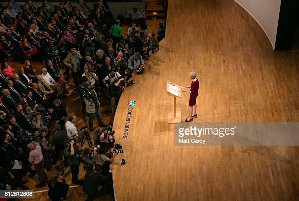 Prime Minister Theresa May makes her keynote speech as she closes the 2016 Conservative Conference at the ICC Birmingham on October 5 2016 in...