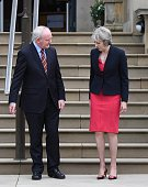 Prime Minister Theresa May meeting Northern Ireland deputy first minister Martin McGuinness at Stormont on July 25 2016 in Belfast Northern Ireland...
