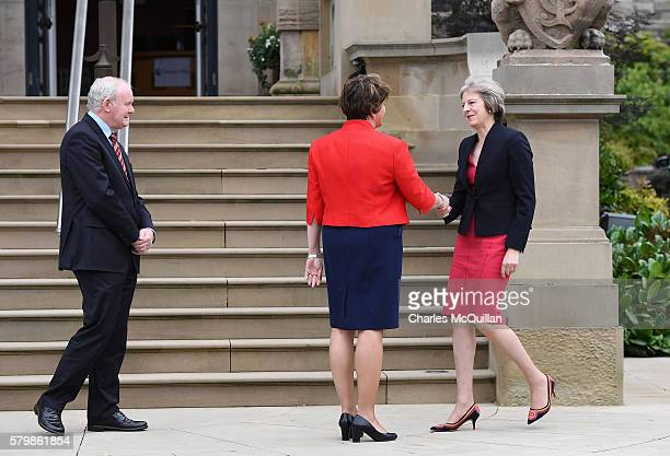 Prime Minister Theresa May meets Northern Ireland first minister Arlene Foster and deputy first minister Martin McGuinness at Stormont on July 25...