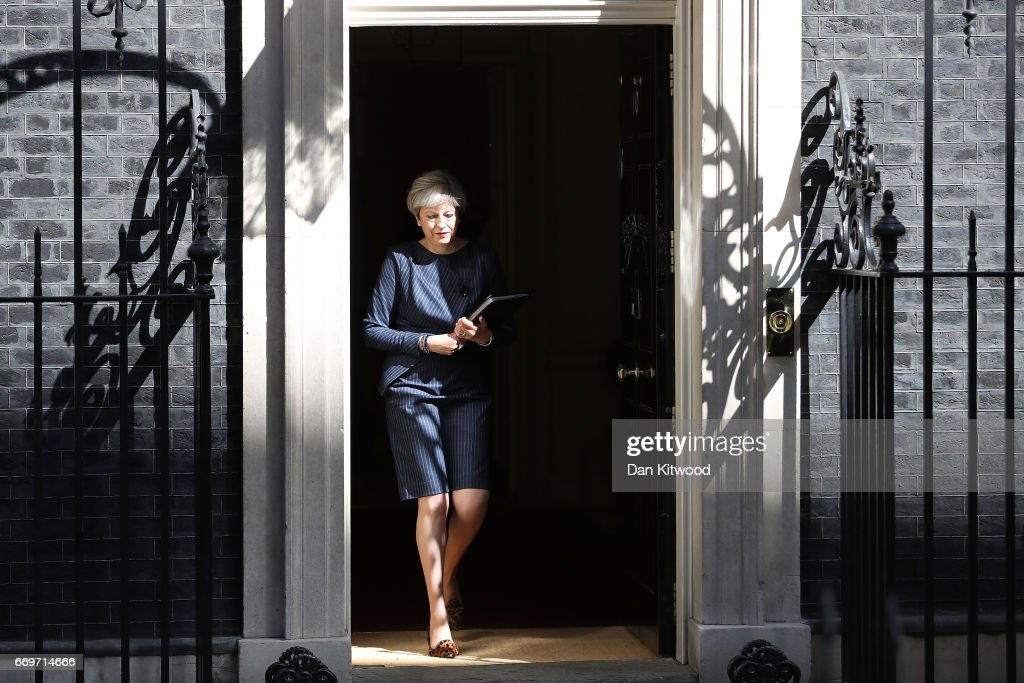 Prime Minister Theresa May prepares to make a statement to the nation in Downing Street on April 18, 2017 in London, United Kingdom. The Prime Minister has called a general election for the United Kingdom to be held on June 8, the last election was held in 2015 with a Conservative party majority win.