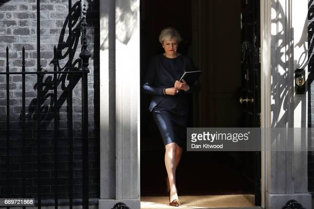 Prime Minister Theresa May prepares to make a statement to the nation in Downing Street on April 18 2017 in London United Kingdom The Prime Minister...