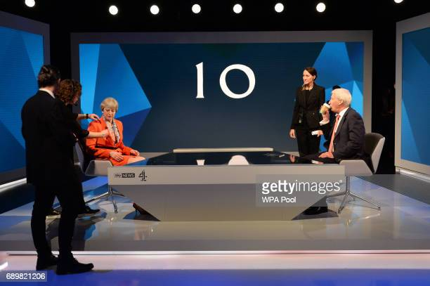 Prime Minister Theresa May prepares to take part in an interview with Jeremy Paxman during a joint Channel 4 and Sky News general election programme...