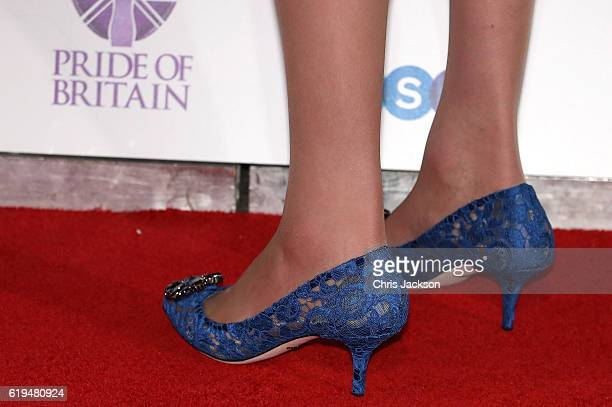 Prime Minister Theresa May shoe detail attends the Pride Of Britain awards at the Grosvenor House Hotel on October 31 2016 in London England