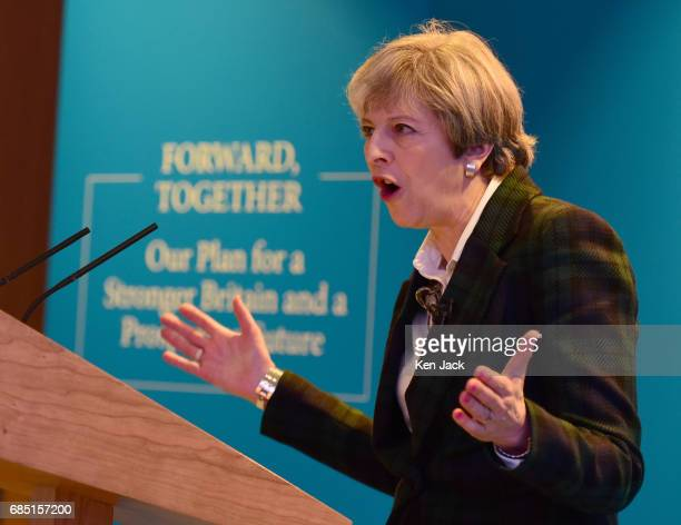 Prime Minister Theresa May speaking at the launch of the Scottish Conservative Party general election manifesto on May 19 2017 in Edinburgh Scotland...