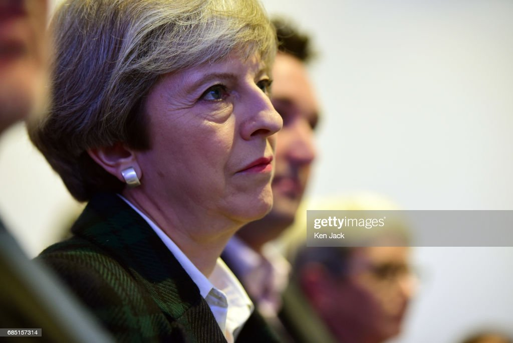 Prime Minister Theresa May speaking at the launch of the Scottish Conservative Party general election manifesto, on May 19, 2017 in Edinburgh, Scotland. The Scottish Conservative manifesto includes commitments to the Borderlands Growth Deal and protecting farming income as well as support for remote Island wind energy projects and North Sea industry support. The British Prime Minister, Theresa May, supported the manifesto with a visit via the Conservative campaign bus.