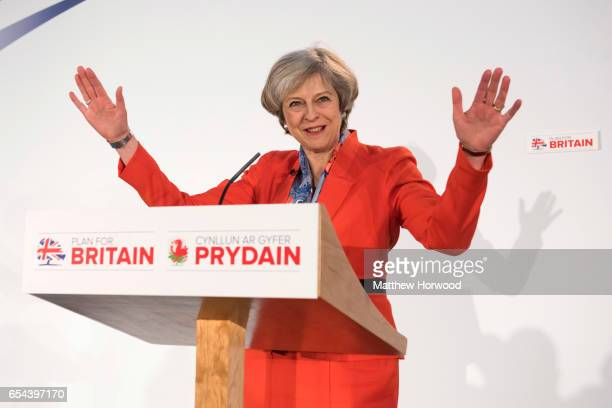 Prime Minister Theresa May speaks during the Conservative Spring Forum on March 17 2017 in Cardiff Wales In her speech the Prime Minister is due to...