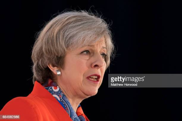 Prime Minister Theresa May speaks during the Conservative Spring Forum on March 17 2017 in Cardiff Wales In her speech the Prime Minister Theresa May...