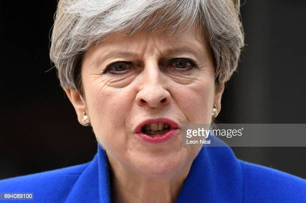 Prime Minister Theresa May speaks outside 10 Downing Street after returning from Buckingham Palace on June 9 2017 in London England After a snap...