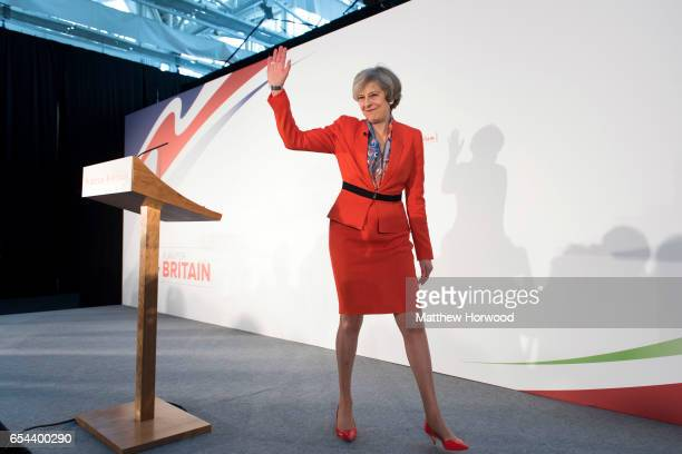 Prime Minister Theresa May waves as she leaves stage during the Conservative Spring Forum on March 17 2017 in Cardiff Wales In her speech the Prime...