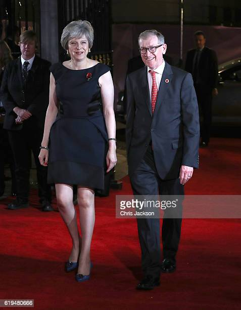Prime Minister Theresa May with her husband Philip John May attend the Pride Of Britain awards at the Grosvenor House Hotel on October 31 2016 in...