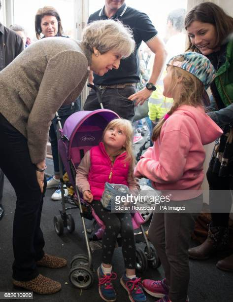 Prime Minister Theresa Mayvisiting the Balmoral Show near Lisburn in Northern Ireland where she toured the exhibition stands and met visitors as part...