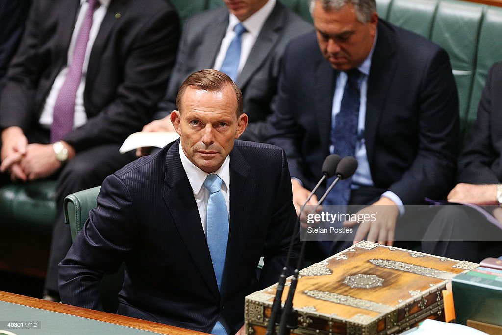 Prime Minister <a gi-track='captionPersonalityLinkClicked' href=/galleries/search?phrase=Tony+Abbott&family=editorial&specificpeople=220956 ng-click='$event.stopPropagation()'>Tony Abbott</a> after moving a motion on the Martin Place siege in the House of Representatives at Parliament House on February 9, 2015 in Canberra, Australia. <a gi-track='captionPersonalityLinkClicked' href=/galleries/search?phrase=Tony+Abbott&family=editorial&specificpeople=220956 ng-click='$event.stopPropagation()'>Tony Abbott</a> remains Prime Minister of Australia after a spill motion failed at a Liberal party meeting this morning. The motion was defeated, 39 to 61 in favour of Abbott.