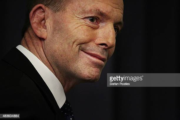 Prime Minister Tony Abbott announces a 2628% carbon emissions target by 2020 during a press conference at Parliament House on August 11 2015 in...