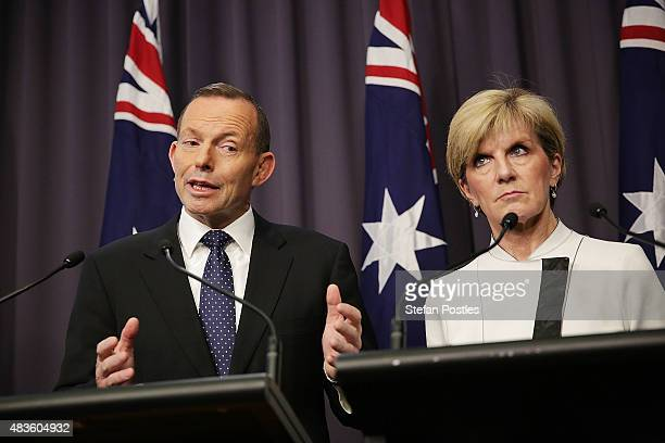 Prime Minister Tony Abbott announces a 2628% carbon emissions target by 2020 during a joint press conference with Minister for Foreign Affairs Julie...