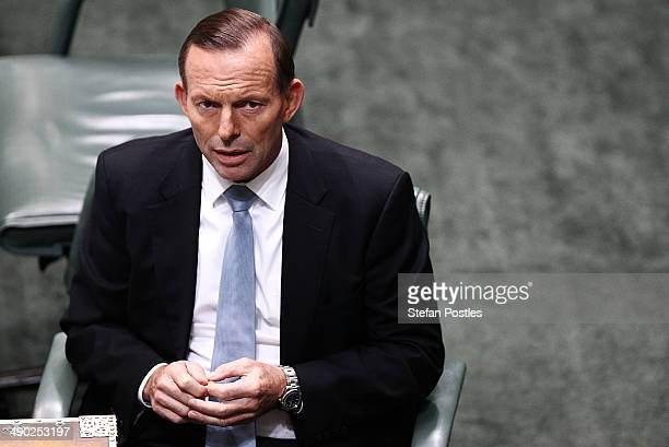 Prime Minister Tony Abbott before House of Representatives question time at Parliament House on May 14 2014 in Canberra Australia Australian...