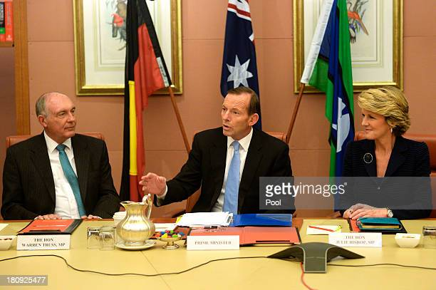 Prime Minister Tony Abbott deputy Prime Minister Warren Truss and Foreign Minister Julie Bishop attend the first meeting of the full Ministry in the...