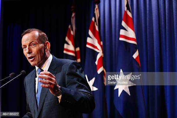 Prime Minister Tony Abbott during his speech on National Security at the Australian Federal Police headquarters on February 23 2015 in Canberra...