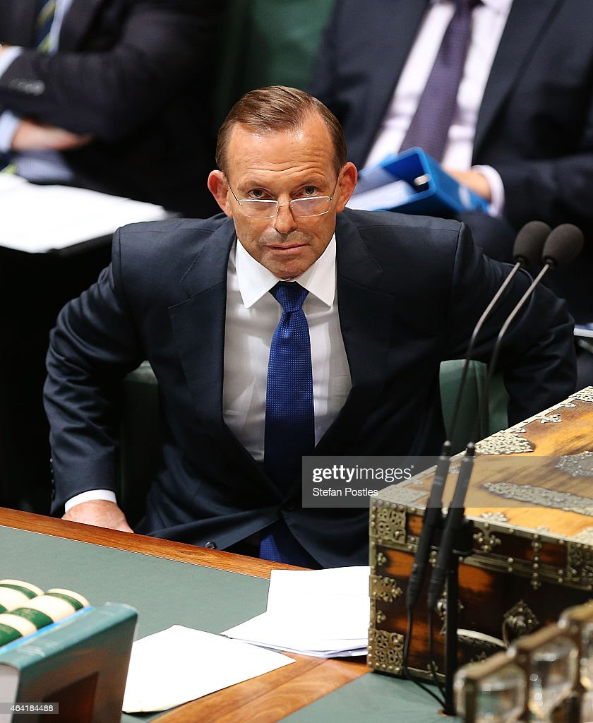 Prime Minister <a gi-track='captionPersonalityLinkClicked' href=/galleries/search?phrase=Tony+Abbott&family=editorial&specificpeople=220956 ng-click='$event.stopPropagation()'>Tony Abbott</a> during House of Representatives question time at Parliament House on February 23, 2015 in Canberra, Australia.