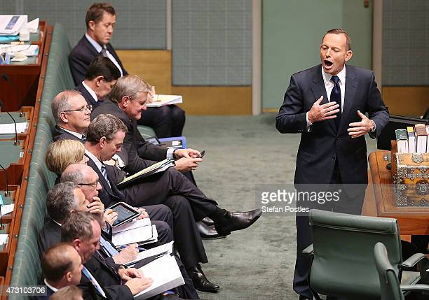 Prime Minister Tony Abbott during House of Representatives question time at Parliament House on May 13 2015 in Canberra Australia The Abbott...