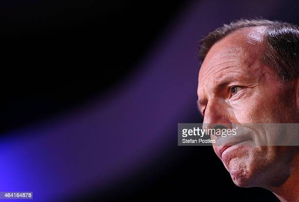 Prime Minister Tony Abbott looks on during his speech on National Security at the Australian Federal Police headquarters on February 23 2015 in...