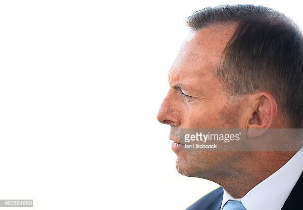 Prime Minister Tony Abbott speaks at a media conference at Townsville Airport on February 7 2015 in Townsville Australia