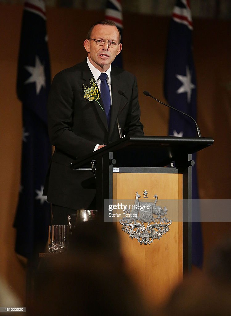 Prime Minister Tony Abbott speaks during a memorial service honouring victims of flight MH17 on July 17, 2015 in Canberra, Australia. 298 people died when Malaysian Airlines flight MH17 was struck down by a missile over Ukraine on 17 July, 2014.