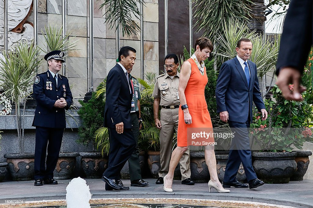 Prime Minister <a gi-track='captionPersonalityLinkClicked' href=/galleries/search?phrase=Tony+Abbott&family=editorial&specificpeople=220956 ng-click='$event.stopPropagation()'>Tony Abbott</a> visits the Bali bombing memorial site on October 9, 2013 in Kuta, Indonesia. Mr Abbott has announced the Victims of Overseas Terrorism Compensation Scheme will now include attacks dating back to September 10, 2001.