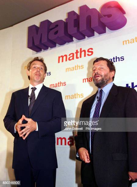 Prime Minister Tony Blair and Education Secretary David Blunkett at Southfields Junior School in Luton to launch the Maths 2000 initiative to raise...