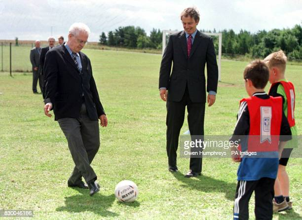 Prime Minister Tony Blair and French premier Lionel Jospin enjoy a game of football with some of his young constituents at the Trimdon Colliery...