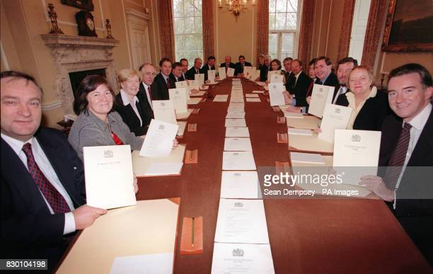 Prime Minister Tony Blair and his cabinet ministers with the Bills that the Labour Government has enacted since coming to power in May 1997 * Nick...