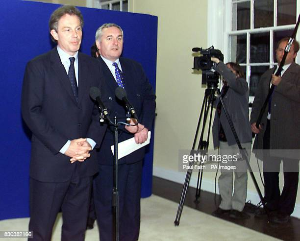 Prime Minister Tony Blair and his Irish counterpart Bertie Ahern at a press conference in Hillsborough on Peter Mandelson declares that the IRA has...