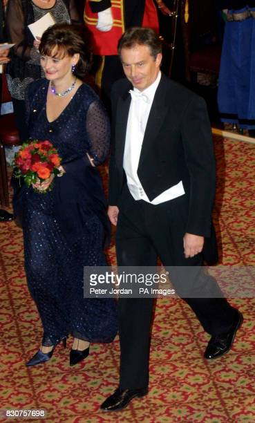 Prime Minister Tony Blair and his wife Cherie arrive at London's Guild Hall for the Lord Mayor's Banquet