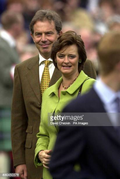 Prime Minister Tony Blair and his wife Cherie at the Braemar Gathering in Scotland The 183yearold Braemar Gathering features traditional Highland...