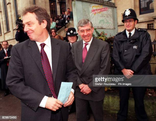 Prime Minister Tony Blair and Home Secretary Jack Straw arrive at The Round Chapel in Hackney east London today for a visit to the Dalston Youth...
