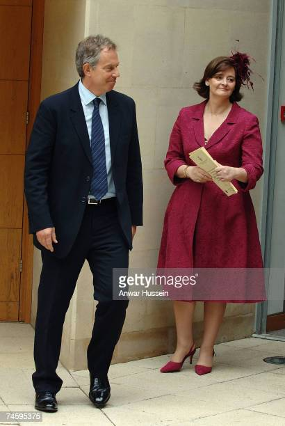 Prime Minister Tony Blair and wife Cherie chat together following a memorial service commemmorating 25 years since the Falklands conflict at the...
