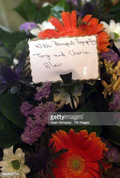 Prime Minister Tony Blair and wife Cherie's wreath at the funeral of murdered hostess Lucie Blackman at St Nicholas Parish Church in Chislehurst...