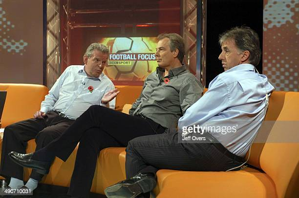 Prime Minister Tony Blair appearing on Football Focus with pundits / commentators John Motson and Mark Lawrenson
