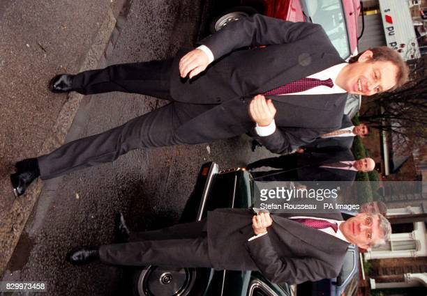Prime Minister Tony Blair arrives with Home Secretary Jack Straw in Hackney east London this morning for a visit to the Dalston Youth Project Watch...