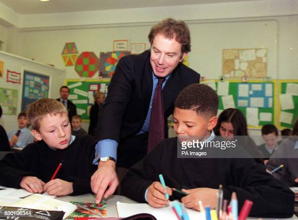 Prime Minister Tony Blair attends a class of 11 and 12yearolds studying maths during his visit to Chiswick Community School in west London this...