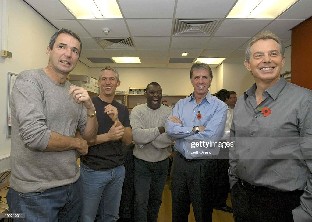 Prime Minister Tony Blair backstage with BBC Sport presenters Alan Hansen, Gary Lineker, Garth Crooks and Mark Lawrenson, after appearing on Football Focus, .