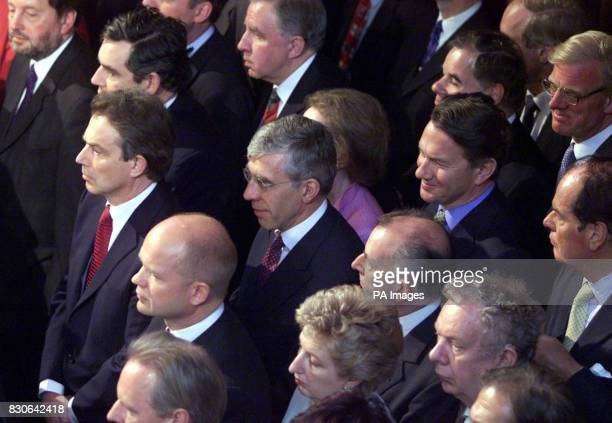 Prime Minister Tony Blair Conservative Party leader William Hague and Tory MP Michael Portillo listen to the Queen's Speech in the House of Lords...