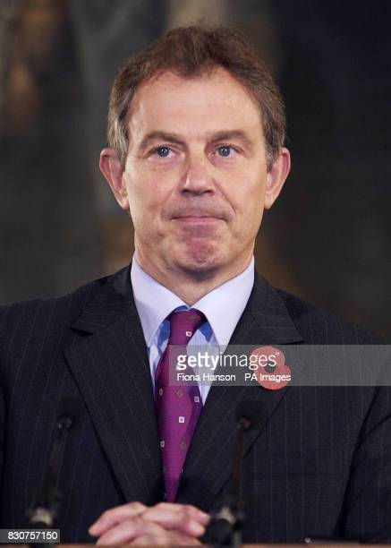Prime Minister Tony Blair during a news conference with Spanish Prime Minister Jose Maria Aznar The two leaders were talking earlier today in 10...