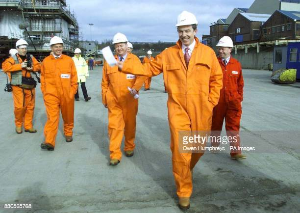 Prime Minister Tony Blair during a visit to construction group AMEC's yard in Wallsend North Tyneside where more than 4000 new jobs are to be created...