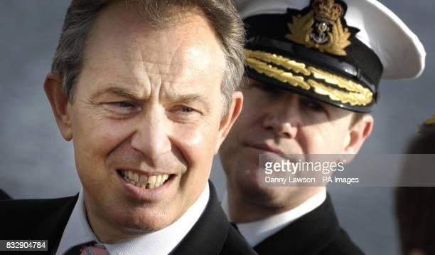 Prime Minister Tony Blair during a visit to HMS Liverpool at Rosyth dockyard Fife Scotland