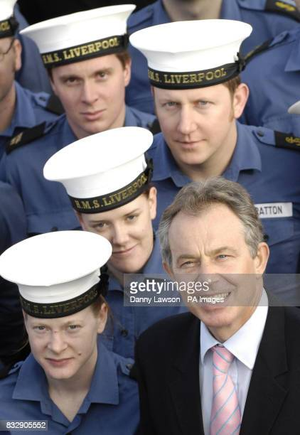 Prime Minister Tony Blair during a visit to HMS Liverpool at Rosyth Dock Yard Fife Scotland