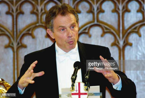 Prime Minister Tony Blair gives an after dinner speech at the Lord Mayor's Banquet at London's Guild Hall