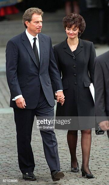 Prime Minister Tony Blair His Wife Cherie At The Funeral Of Diana Princess Of Wales At Westminster Abbey London