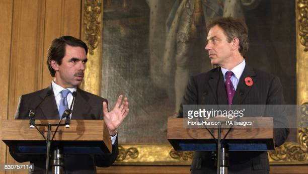 Prime Minister Tony Blair holds a news conference with Spanish Prime Minister Jose Maria Aznar The two leaders were talking in 10 Downing Street...
