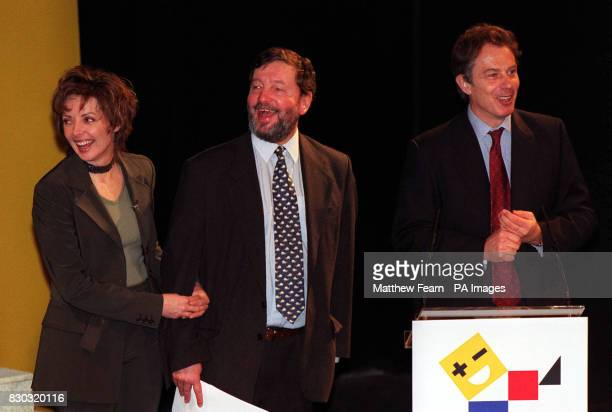 Prime Minister Tony Blair is joined by Education Secretary David Blunkett and television presenter Carol Vorderman at the Criterion Theatre in...