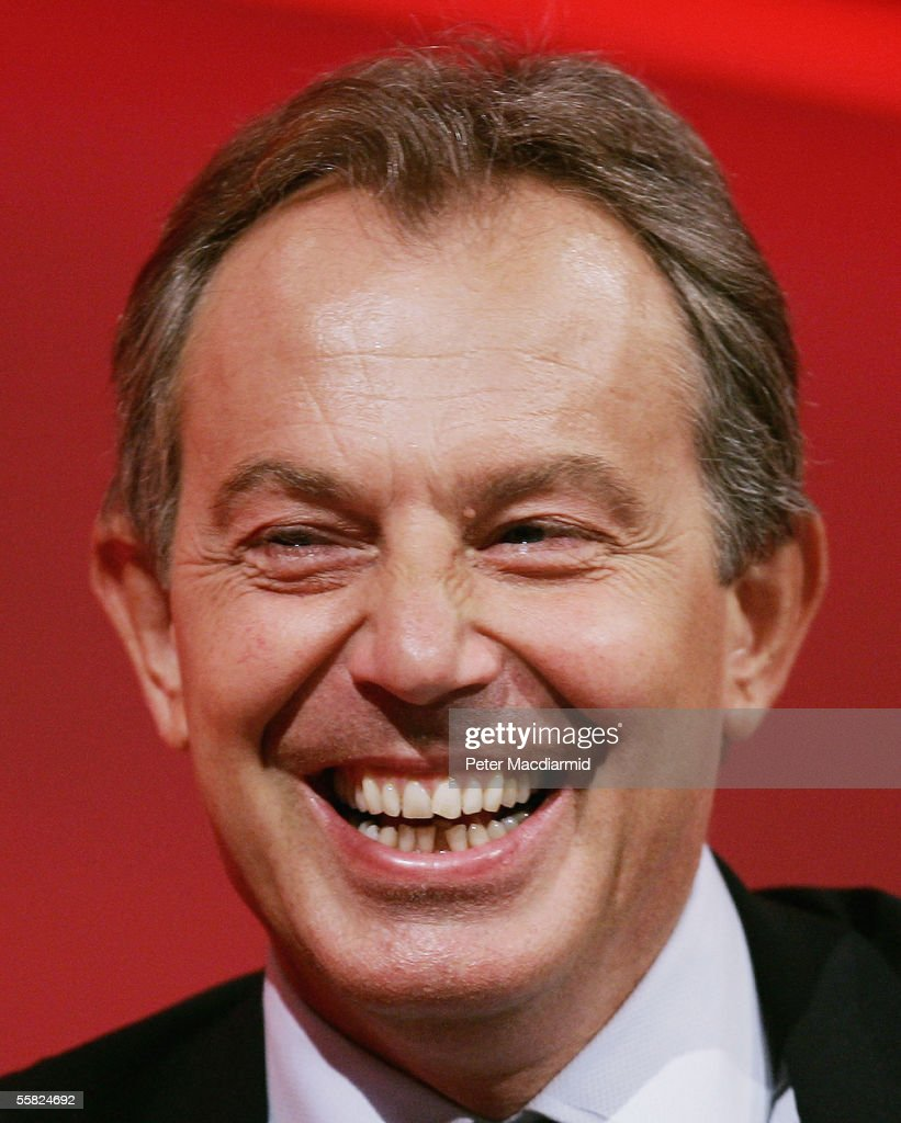 Prime Minister Tony Blair laughs during speeches at the Labour Party conference on September 29, 2005 in Brighton, England. The six day conference ended today with speeches and the singing of traditional Labour anthem The Red Flag.